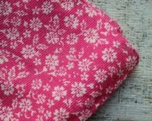 Vintage cotton fabric white pink flowers boho fabric