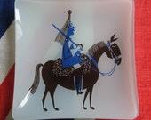 Kenneth Townsend Royal Horse Guard, Glass Dish, Sights of London, Chance Glass, Trinket Dish, 1970's London Souvenir