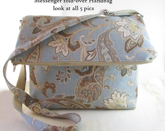 Messenger Handbag - Foldover Handbag - Purse - Decor Upholstery Fabric - Gorgeous Design - Messenger Style Handbag - 4 Interior Pockets