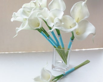 Ivory Calla Lily Bridesmaid bouquet in turquoise ribbon, Flower Girl Bouquet, Toss Bouquet