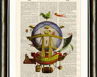 Minerve Hot Air Balloon - Upcycled vintage Steam Punk image printed on a late 1800s Dictionary page Buy 3 get 1 FREE
