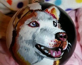 Custom Dog Pet Portrait  Christmas Winter Hand Painted Ornament