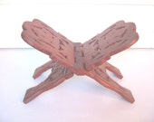 Wood Book Stand, Folding Book Holder, Hand Carved India, Oak Leaf