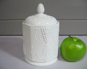 Milk Glass Canister with Lid, Colony Harvest Milk Glass, Indiana Glass Co., Cottage Chic