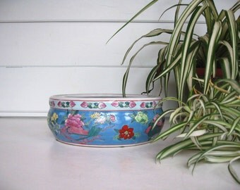 Vintage Planter, Chinoiserie, Blue Planter