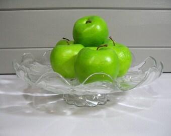 Clear Glass Dessert Stand, Dessert Pedestal, Cake Stand,  Etched Glass Plate