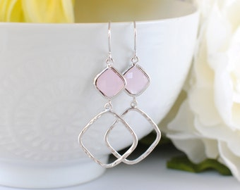 The Sophie Earrings -  Pink/Silver