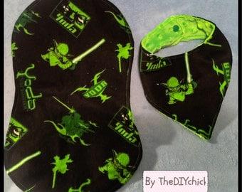 Star Wars Yoda Bandana Bib and Burp Cloth set