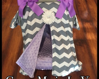 Grey chevron and lavender purple minky Car seat canopy