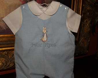 Beatrix Potter's  Peter Rabbit Classic Blue Gingham Lined Shortalls with White Short Sleeve Shirt