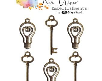 VINTAGE BULBS & KEYS - by Ken Oliver - New Embellishments !!  Lightbulb and Key  Charms
