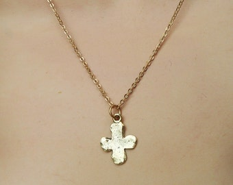 Rustic Gold Cross Necklace, Minimalist Rustic Gold Cross Necklace, Gold Cross Choker Necklace, Tiny Gold Cross Necklace