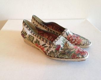 SALE!! Vintage Boho Floral Tapestry Flats Espadrilles