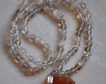 Satyaloka Satyamani quartz 108 +1 Beads  Rosary /Necklace  with Agnitite pendant.  # 7881