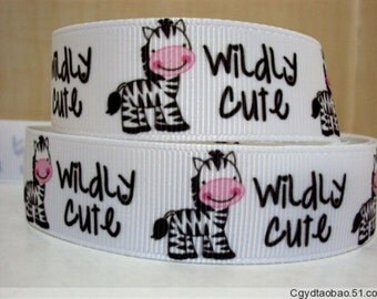 "7/8"" Wildly Cute Zebra Ribbon - 5 yards"