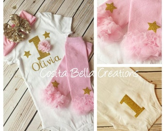Twinkle Twinkle Little Star Baby Girl 1st Birthday Outfit,Pink and Gold first birthday outfit,pink birthday outfit,cake smash outfit