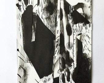 "Abstract ART MIXEDMEDIA Painting Drawing Artwork 'Trillio' 8 1/4"" x 6"" by Janneke Gerritsen, 2016."