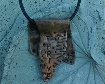 Stamped copper pendant necklace Thrive