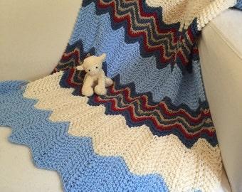 Hand knit Zig zag baby blanket ~ supersoft aran yarn