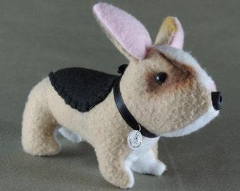 Corgi stuffie, handmade fleece puppy dog, doll, miniature tan, black and white