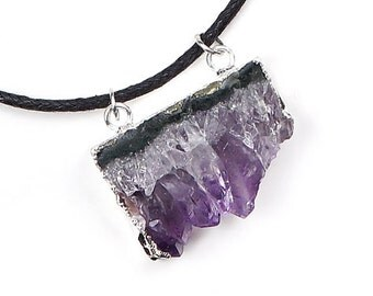 Raw Amethyst Slice Necklace   Raw Geode Slice   Natural Gemstone Pendant   Purple Amethyst   Statement necklace   Healing Crystal Jewelry