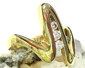 3 Stone Diamond Engagement Ring 14 Kt Gold Size 8 3/4 - 9, .32ct