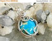 ON SALE 16x12 Genuine Turquoise Pendant Necklace Wire Wrapped Solid Sterling Silver 930 Argentium Anti Tarnish wire