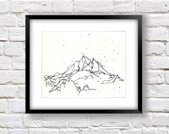 Mountain Sketch Drawing Print - Minimalist Art
