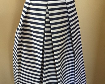 Navy and White Pleated Skirt