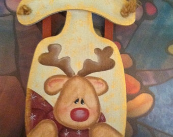 Hand Painted Wood Sleigh Ornament Painted with Rudolph the Red Nose Reindeer ~ Free Shipping