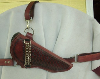 Brown LEATHER Large Revolver CHEST HOLSTER