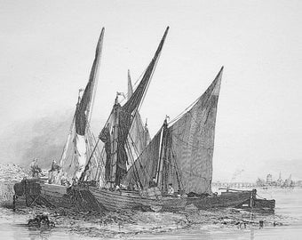 ORIGINAL ETCHING Barges Sailboats Ships - 1828 Antique Print by Edward William Cooke
