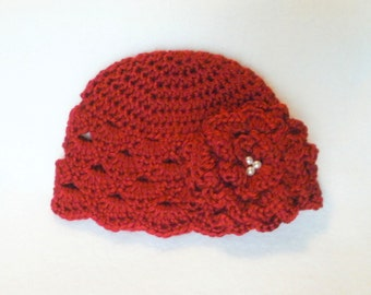 Crocheted Baby Girl's Red Hat Red Baby Girl's Hat Deep Red Baby Girl's Hat With Matching Flower