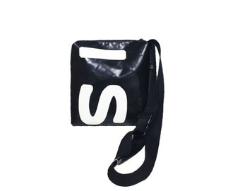 Shoulder bag hip bag truck tarpaulin black & white tarpaulin bag