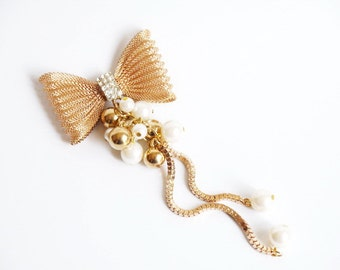 1PCS Fashion Gold Tassel Crystal bowknot Alloy jewelry Accessories materials supplies