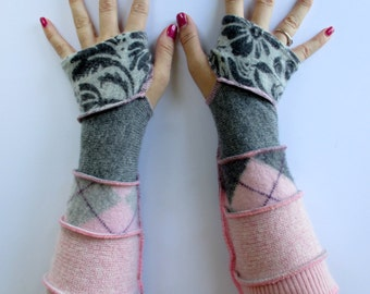 Recycled Sweaters - Upcycled Sweaters - Wool & Cashmere Gloves - Argyle Print Gloves - Pink Fingerless Gloves - Pink and Grey Arm Warmers
