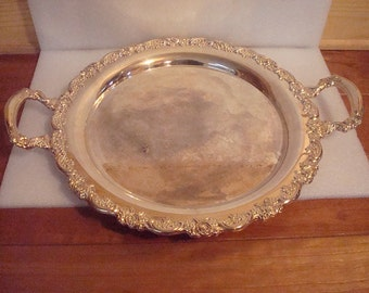 Very Large Heavy Silver Plate Serving Platter / Wedding Platter Floral Pattern