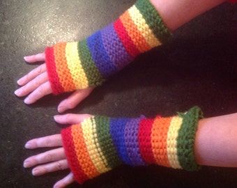 Rainbow fingerless gloves arm warmers