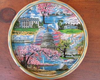 Souvenir Washington D C Vintage Metal Painted Tray
