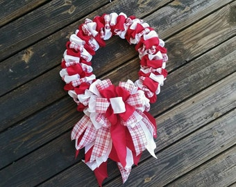 Christmas Wreath, Ribbon Wreath, Holiday Wreath, Holiday Decor, Christmas Decor