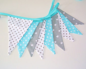 Fabric bunting in gray, white and tourquoise,  fanions, flags