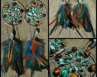 Life Stone Bohemian Dream Catcher Earrings with Hand Gathered Feathers by The Emerald Lotus