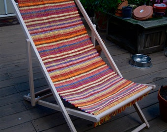 Folding Patio Chair Rag Rug Fabric Seat