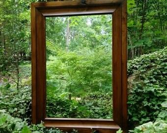 Knotty Alder Mirror, Custom Mirror, Hardwood Mirror, Rustic Mirror. Large Wall Mirror, Wood Mirror