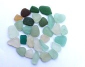 sea glass green teal white yellow seaglass beach jewelry art supply (lt435)