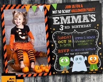 Halloween Invitation, Birthday Invitation, Halloween Photo Birthday Invitation R-57