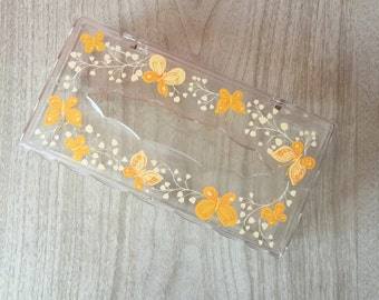 Vintage Butterfly Tissue Box ~ Clear Plastic Hinged Kleenex Holder