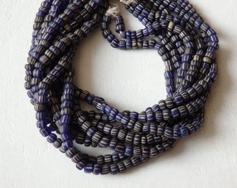 """Indonesian handmade glass beads - BLUE, 24"""" strand of striped blue and white glass beads, SMALLER size, artisanal, Boho jewelry supplies"""