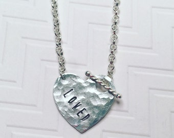 Loved Necklace - Hand Stamped Personalized - Silver Heart Necklace