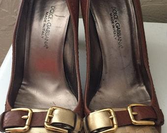 Vintage Dolce & Gabanna metallic tassel loafers